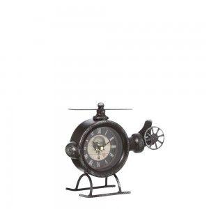 Reloj Helicóptero de Mesa Diseño Vintage en Metal Negro