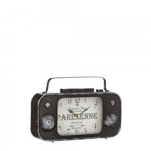 Clock Radio Table Vintage Design in Metal Brown