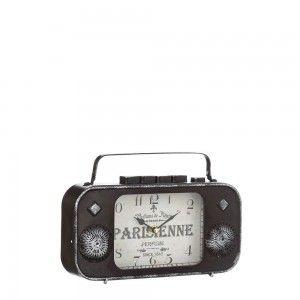 Reloj Radio de Mesa Diseño Vintage en Metal Marrón