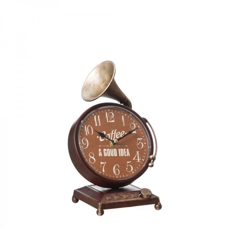 Reloj Gramófono de Mesa Diseño Vintage en Metal Marrón