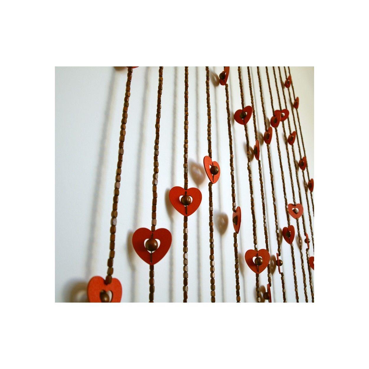 Cortina para puerta corazones madera natural dise o for Cortinas de madera para puertas
