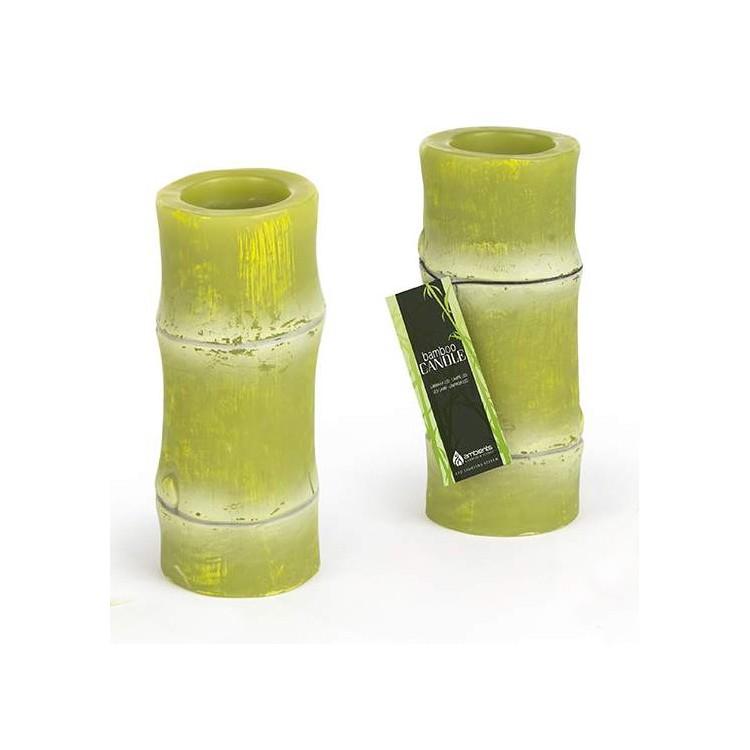 Velón Led Forma Bambú Verde