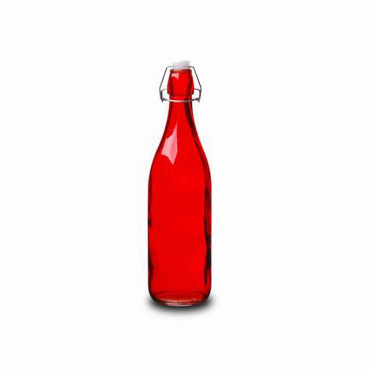 Botella Cristal 0,5L Roja con Tapón Estilo Tradicional Hogarymás