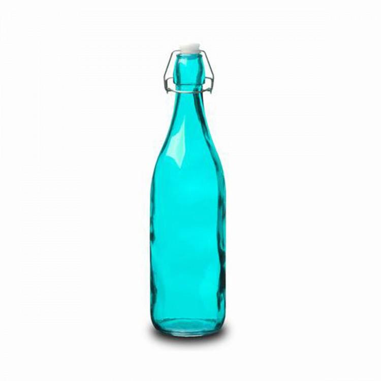 Botella Cristal 1L Azul con Tapón Estilo Tradicional Hogarymás