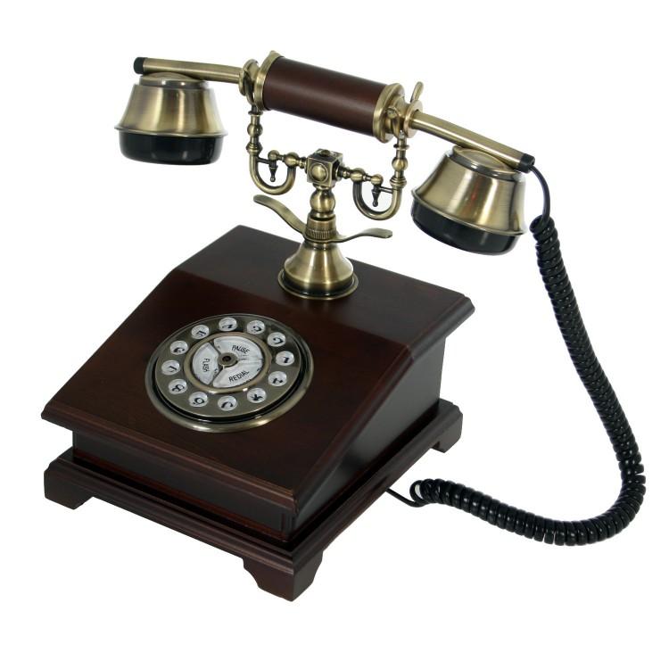 Teléfono Antiguo Madera Diseño Vintage