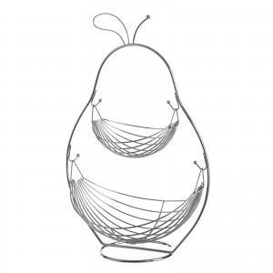 Fruit bowl Chrome-plated Iron 2 Baskets Original Pear Shape