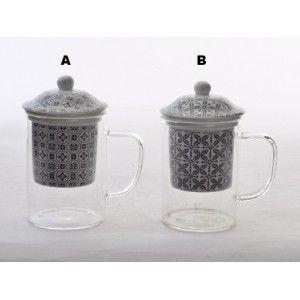 Taza Infusiones Porcelana y Cristal Diseño Étnico 2 Modelos