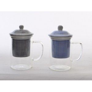 Cup Infusions Porcelain and Crystal, Ethnic Design 2 Colors