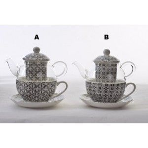 Teapot and Cup Porcelain Natural Crystal Infusions Filter, Porcelain, Ethnic Design 2 Models