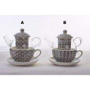 Tetera y Taza Porcelana Natural Cristal Infusiones Filtro Porcelana Diseño Étnico 2 Modelos