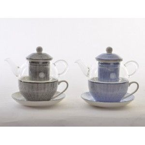 Teapot and Cup Porcelain Natural Crystal Infusions Filter, Porcelain, Ethnic Design 2 Colors
