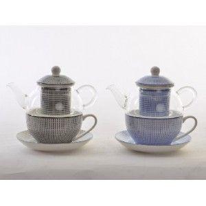 Tetera y Taza Porcelana Natural Cristal Infusiones Filtro Porcelana Diseño Étnico 2 Colores