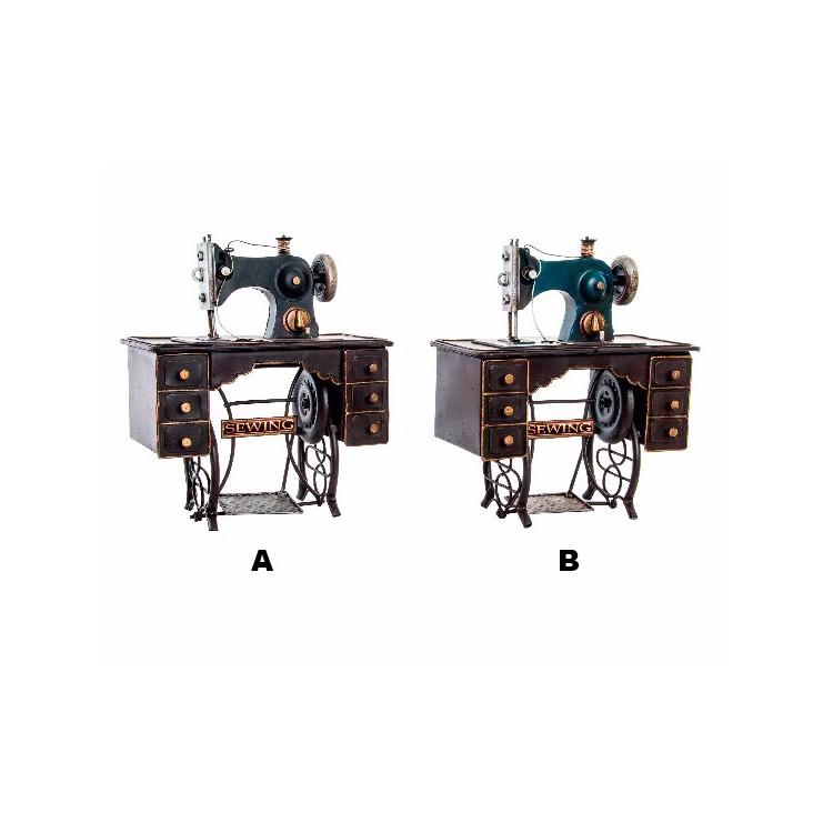 Máquina de Coser Decorativa Vintage Estilo Tradicional Metal