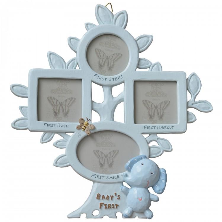 Marco fotos m ltiple para beb original elefante azul - Marcos de fotos multiples ...