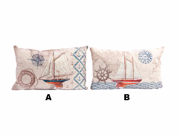 Cushion for Sofa or Bed Decorated in Natural Linen Design Marine Two Models