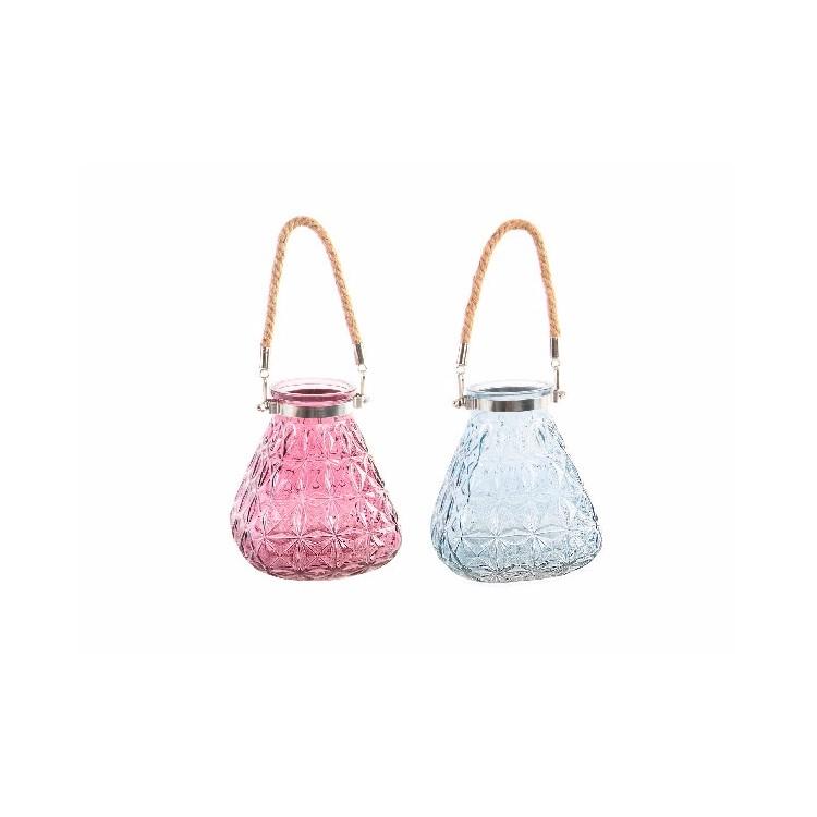Portavelas Colgante Cristal con Cuerda Diseño Original Decoración Dos Colores