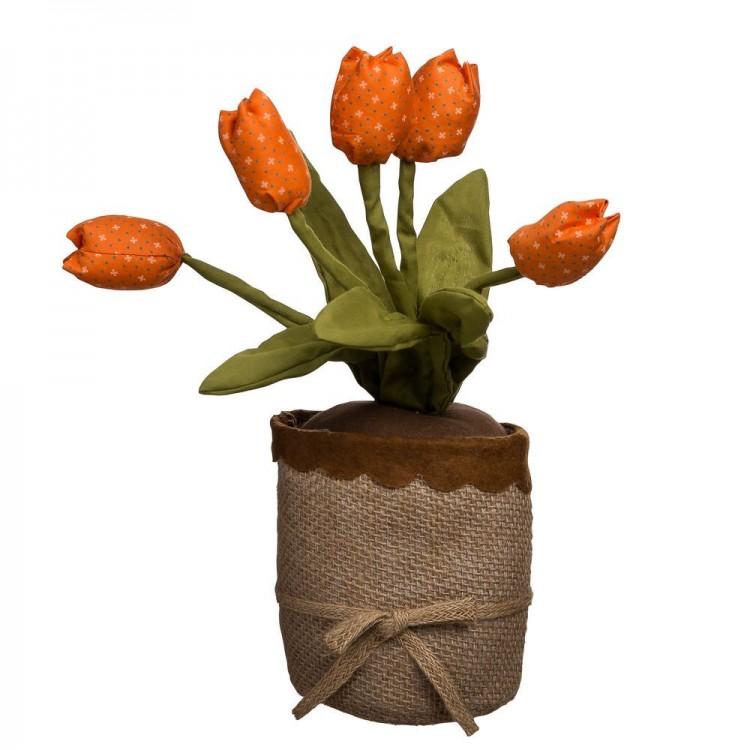 Tope de Puerta Tulipanes Algodón Natural Color Naranja, Hogar y Mas