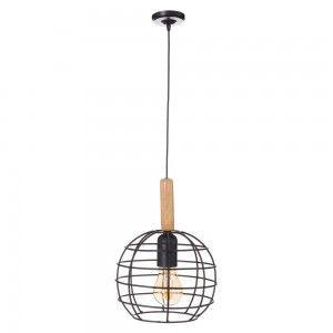 Ceiling lamp Metal and Natural Wood Black Modern Design