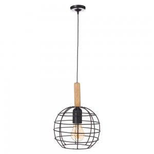 Lámpara de Techo Metal y Madera Natural Negra Diseño Moderno