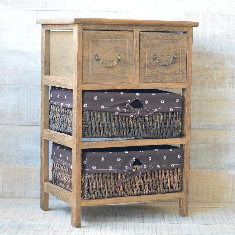 Cajonera madera natural dise o vintage dos cajones y dos for Muebles con cestas