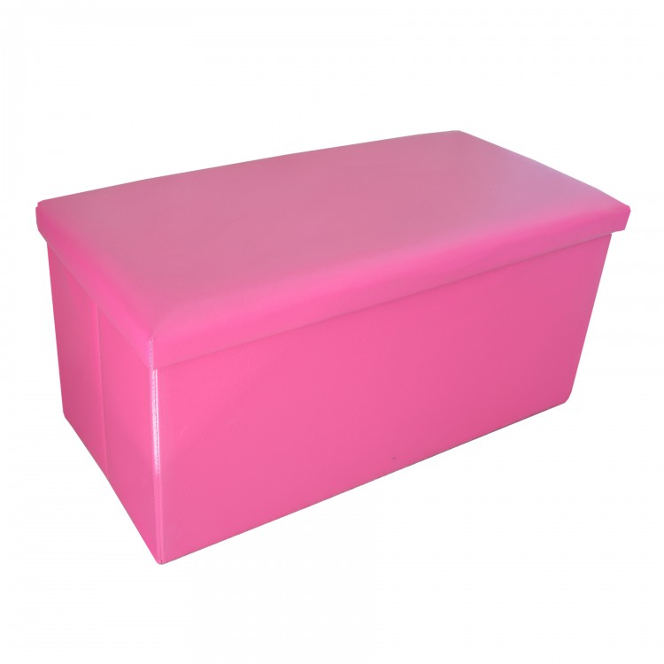 Puff Baúl Plegable Acolchado para Almacenaje Original Diseño Elegante Rosa