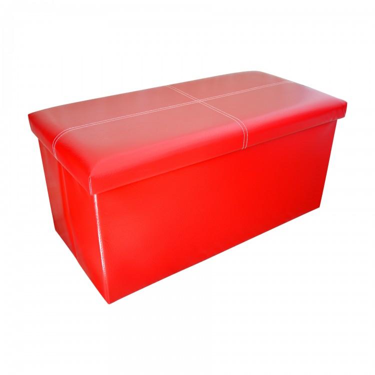 Puff Baúl Plegable Acolchado para Almacenaje Original Diseño Elegante Rojo