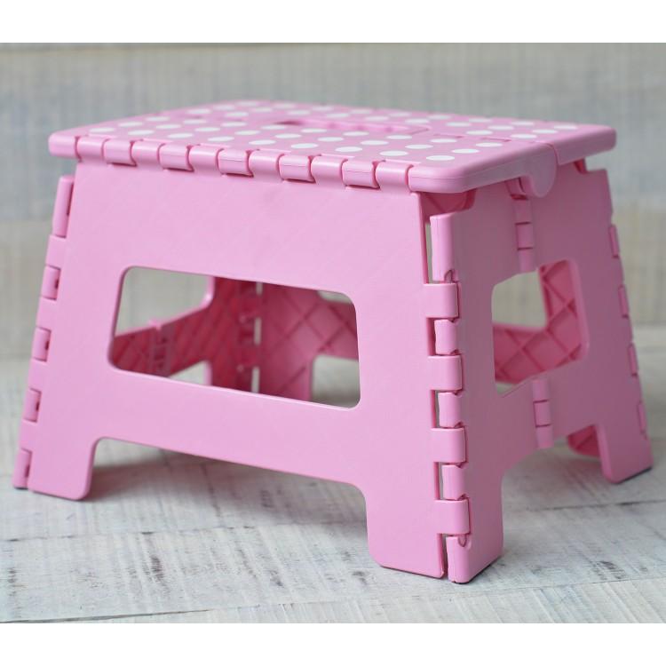 Taburete Plegable Robusto y Práctico Color Rosa con Superficie Antideslizante en PVC