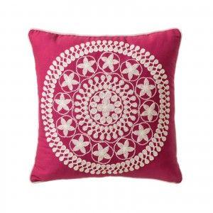 Cushion for Sofa Fuchsia Natural Cotton Design Ethnic Mandala