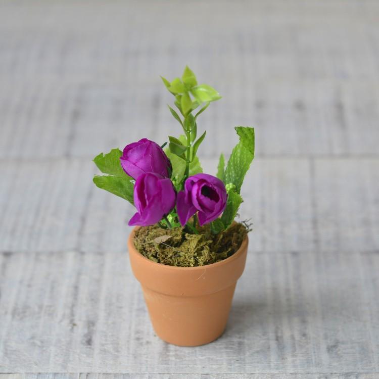 Planta artificial morada en maceta de barro natural rosas - Hierba luisa en maceta ...