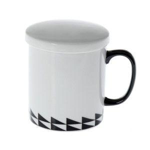 Taza de Cerámica para Infusión con Filtro Diseño Étnico Color Blanco Negro