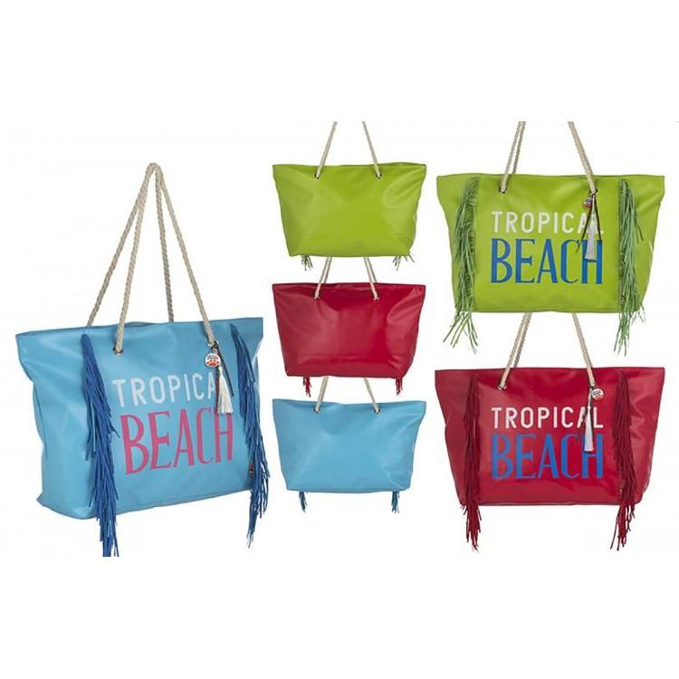 Bolsa de Playa con Flecos Diseño Tropical Tres Colores Hogar y Más