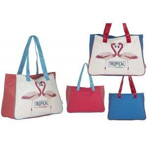 Beach bag, Two-Color Design Flamenco Tropical Home and More