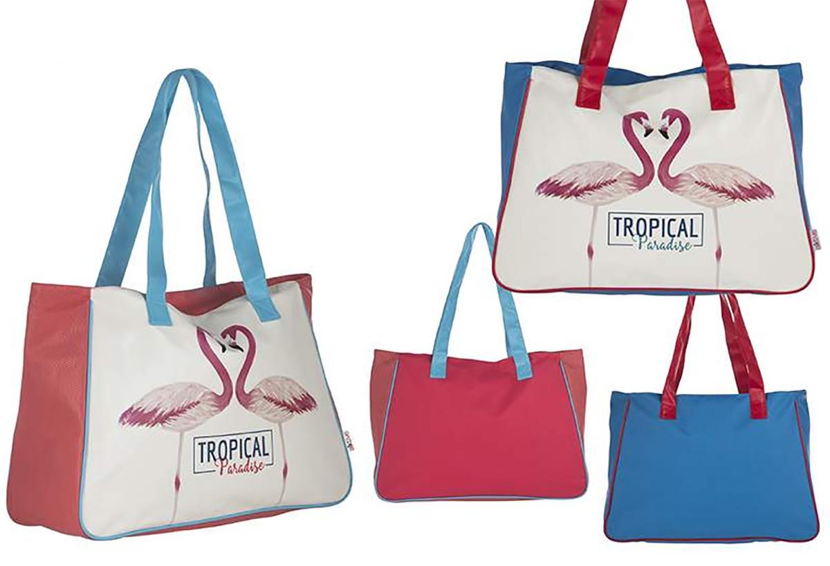 Bolsa de Playa de Dos Colores Diseño Flamenco Tropical Hogar y Más