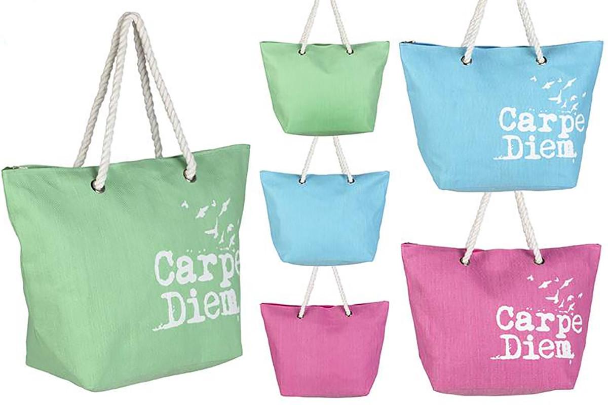 Bolsa de Playa de Tres Colores Diseño Carpe Diem Hogar y Más