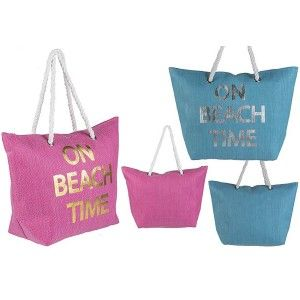 Beach bag, Two-Color Design On Beach Time Home and More