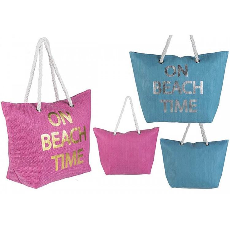 Bolsa de Playa de Dos Colores Diseño On Beach Time Hogar y Más