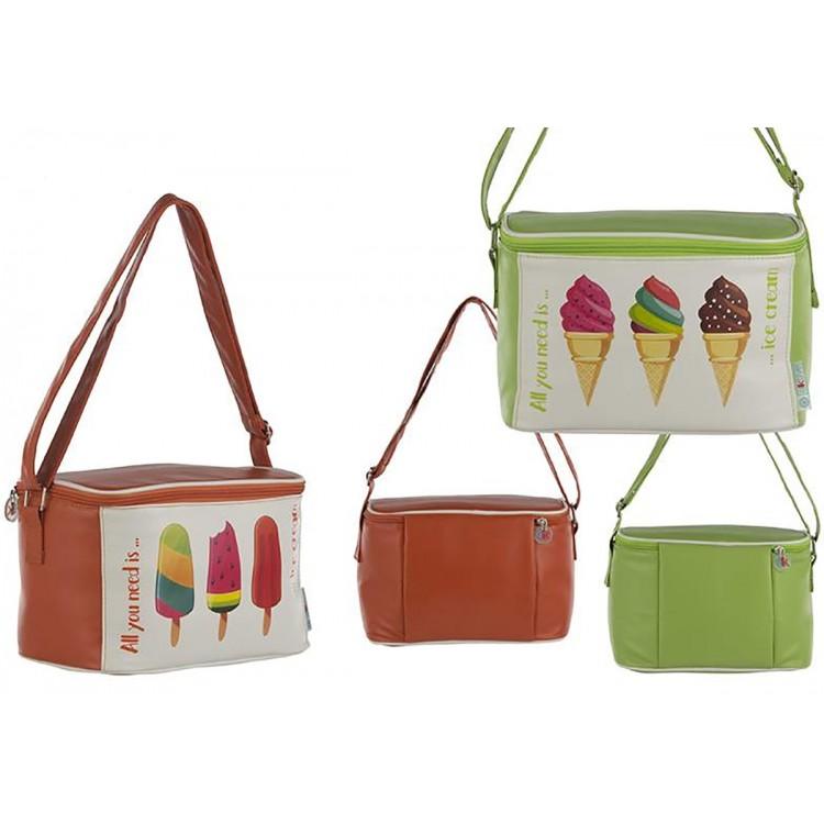 Bolsa Térmica de Playa con Asa y Cremallera Dos Colores Helados Hogar y Más