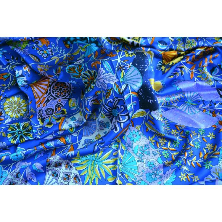 Pañuelo  de seda 100% natural, modelo abanicos azul, de Hogar y Mas