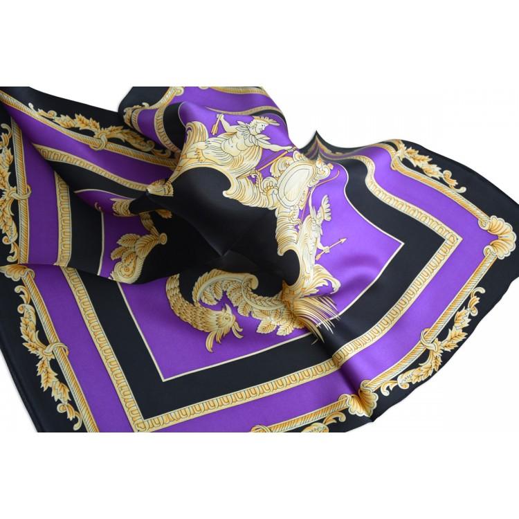Pañuelo  de seda 100% natural, modelo clasico morado y negro, de Hogar y Mas