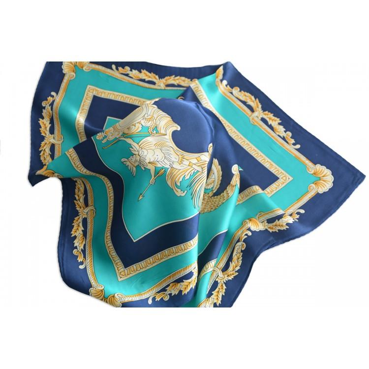 Pañuelo  de seda 100% natural, modelo clasico verde y marino, de Hogar y Mas