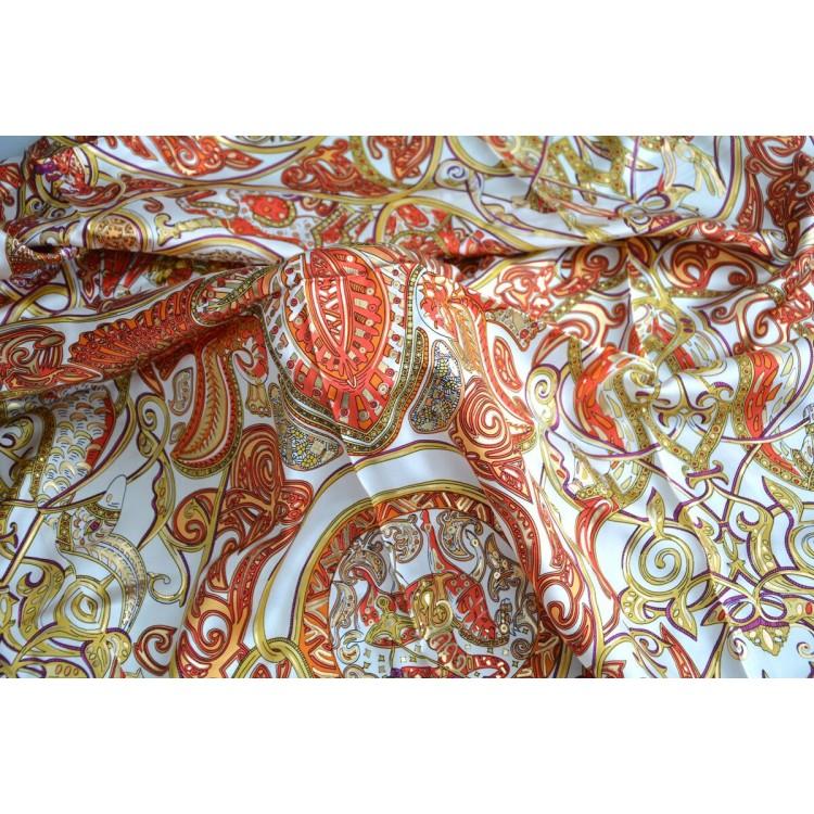 Pañuelo  de seda 100% natural, modelo Cinthya Beige y naranja, de Hogar y Mas