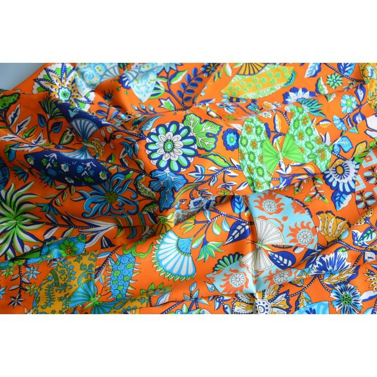 Pañuelo  de seda 100% natural, modelo Abanicos naranja, de Hogar y Mas