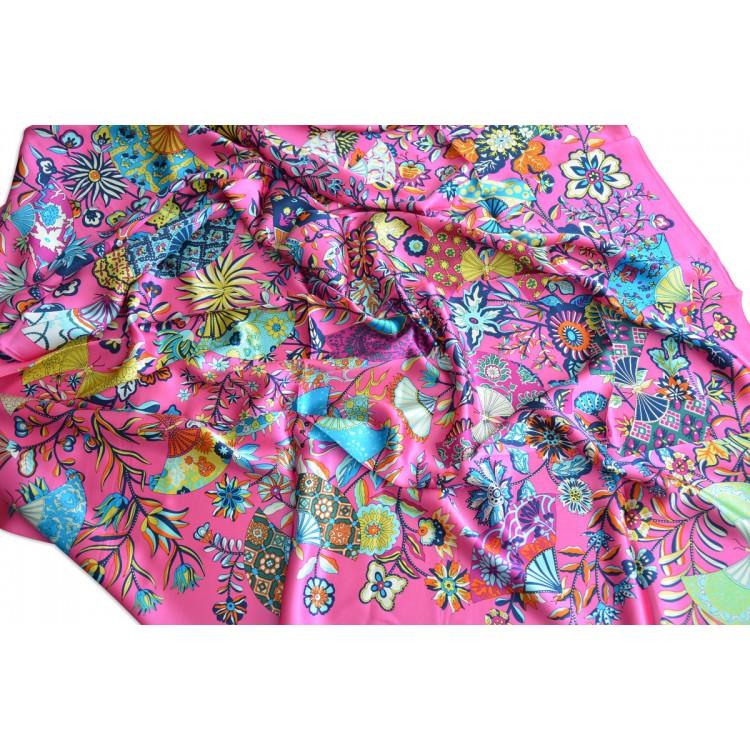 Pañuelo  de seda 100% natural, modelo Abanicos rosa, de Hogar y Mas