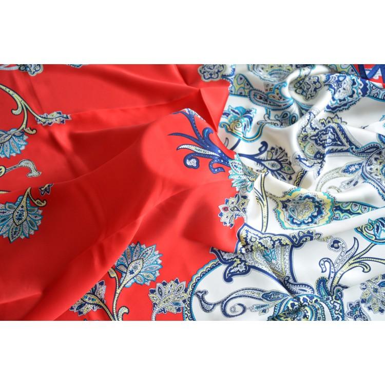 Pañuelo  de seda 100% natural, modelo Ameba rojo, de Hogar y Mas