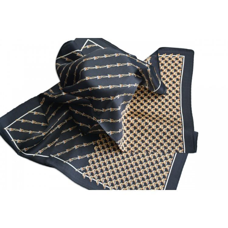 Pañuelo  de seda 100% natural, modelo Hebillas negro, de Hogar y Mas
