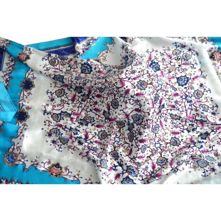 Pañuelo  de seda 100% natural, modelo floral azul, de Hogar y Mas