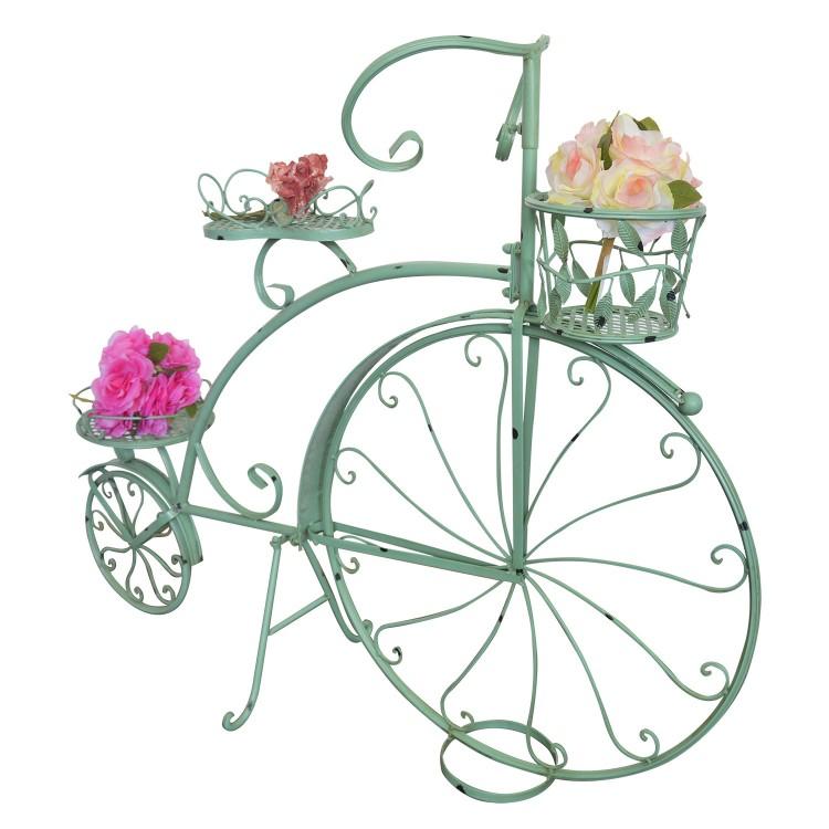 Macetero de Acero Forma Bicicleta Verde Vintage Acero de Forja Decoración Jardín Hogar y Más