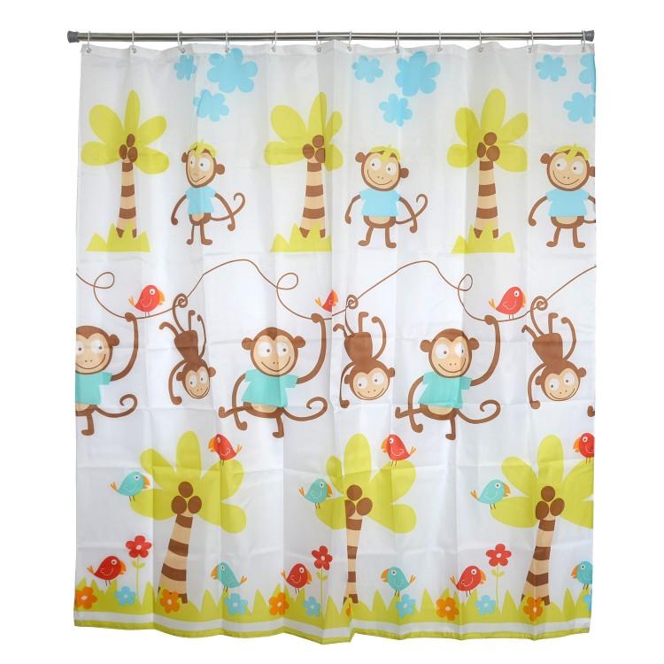 Cortina de Baño para Ducha, con Tejido de Peva. Diseño de Monos, con estilo Infantil - Hogar y Más