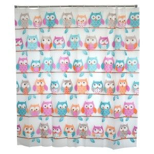 Bath curtain Shower Fabric of Peva Design Owls Home and More