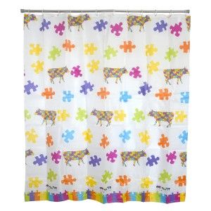 Bath curtain Shower Fabric of Peva Design Puzzle Home and More